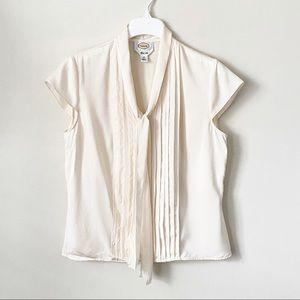 Talbots Pure Silk V Neck Tie Lace Blouse Cream 10